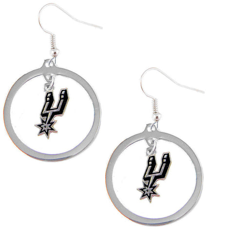San Antonio Spurs Hoop Logo Dangle Earrings