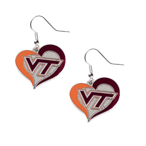 Virginia Tech Hokies Swirl Heart Dangle Earrings