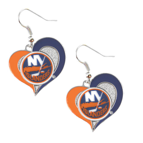 New York Islanders Swirl Heart Dangle Earrings