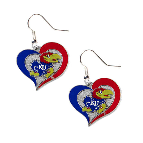 Kansas University Jayhawks Earrings - Swirl Heart Dangle Earrings