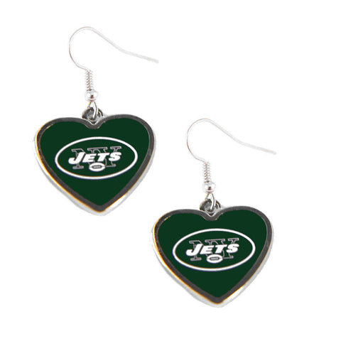 New York Jets Logo Heart Dangle Earrings