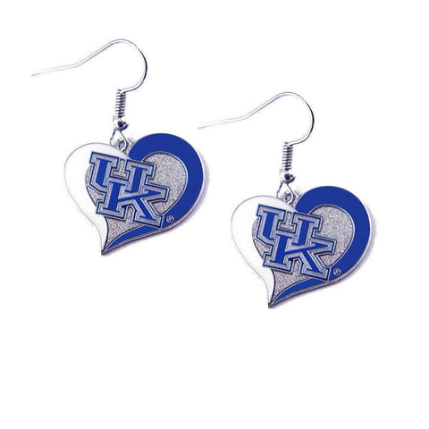 Kentucky Wildcats Earrings - Swirl Heart Dangle Earrings