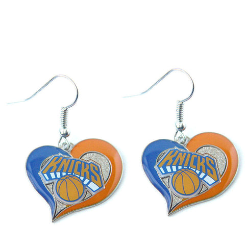 New York Knicks Swirl Heart Dangle Earrings