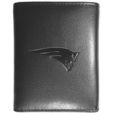 New England Patriots Wallet - Black Leather Tri-Fold Wallet