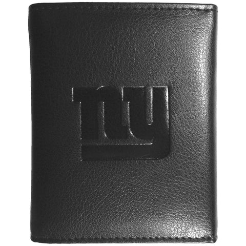 New York Giants Wallet - Black Leather Tri-Fold Wallet