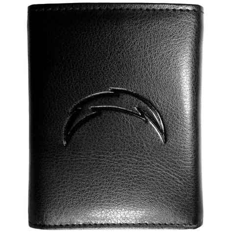 Los Angeles Chargers Black Leather Tri-Fold Wallet