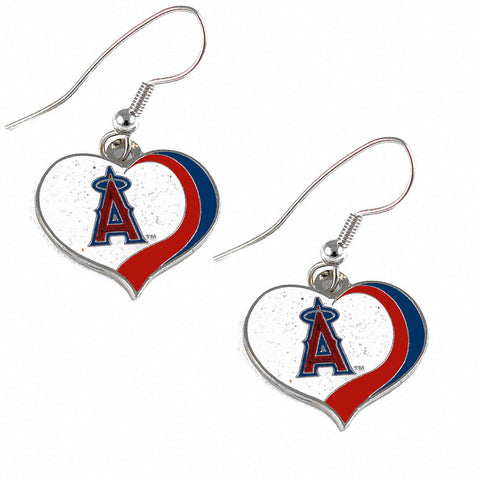 Los Angeles Angels Glitter Swirl Heart Dangle Earrings