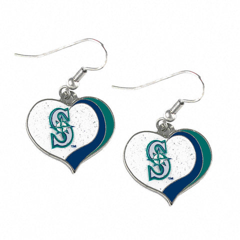 Seattle Mariners Glitter Swirl Heart Dangle Earrings