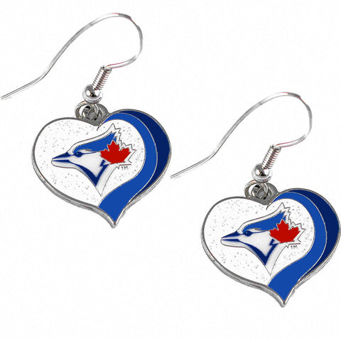 Toronto Blue Jays Earrings - Glitter Swirl Heart Dangle Earrings