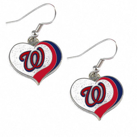 Washington Nationals Glitter Swirl Heart Dangle Earrings
