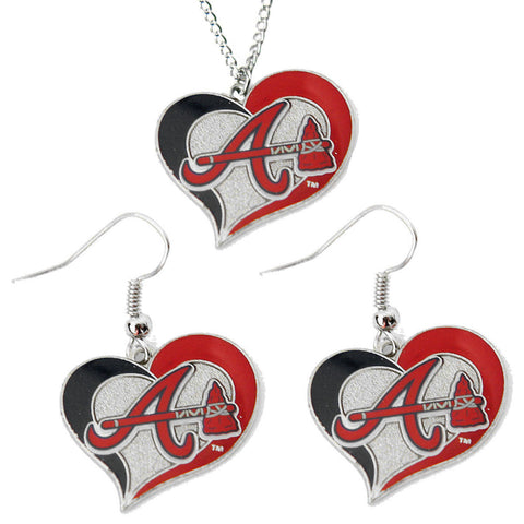 Atlanta Braves Necklace - Swirl Heart Necklace & Earrings Set