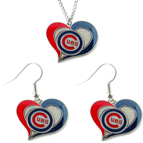Chicago Cubs Necklace - Swirl Heart Necklace & Earrings Set