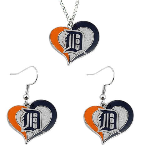 Detroit Tigers Necklace - Swirl Heart Necklace & Earrings Set
