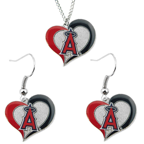 Los Angeles Angels Necklace - Swirl Heart Necklace & Earrings Set