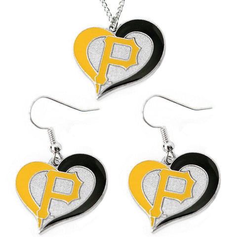 Pittsburgh Pirates Swirl Heart Necklace & Earrings Set