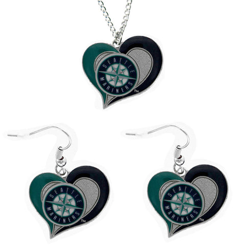 Seattle Mariners Swirl Heart Necklace & Earrings Set