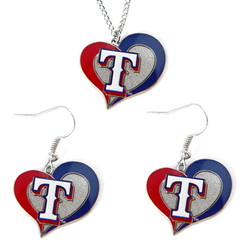 Texas Rangers Swirl Heart Necklace & Earrings Set
