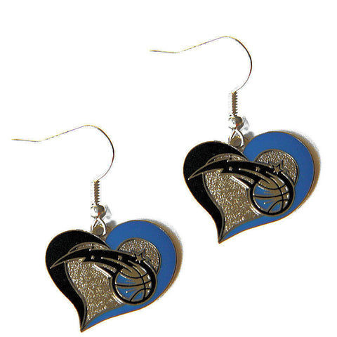 Orlando Magic Swirl Heart Dangle Earrings