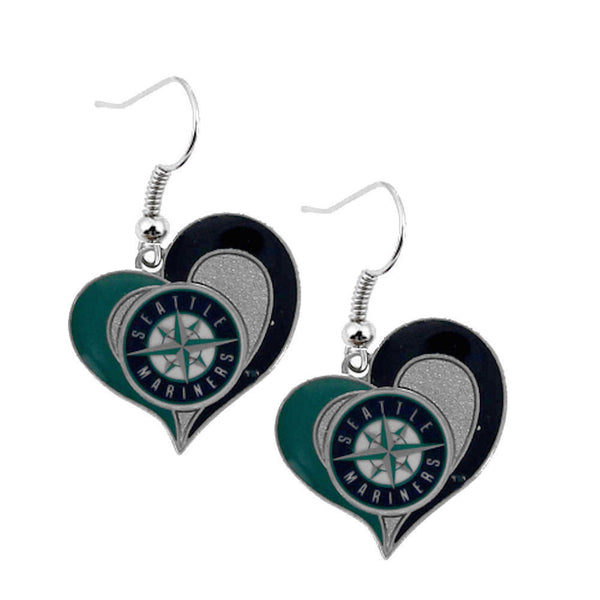 Seattle Mariners Swirl Heart Dangle Earrings