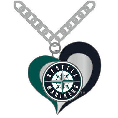 Seattle Mariners Swirl Heart Logo Necklace