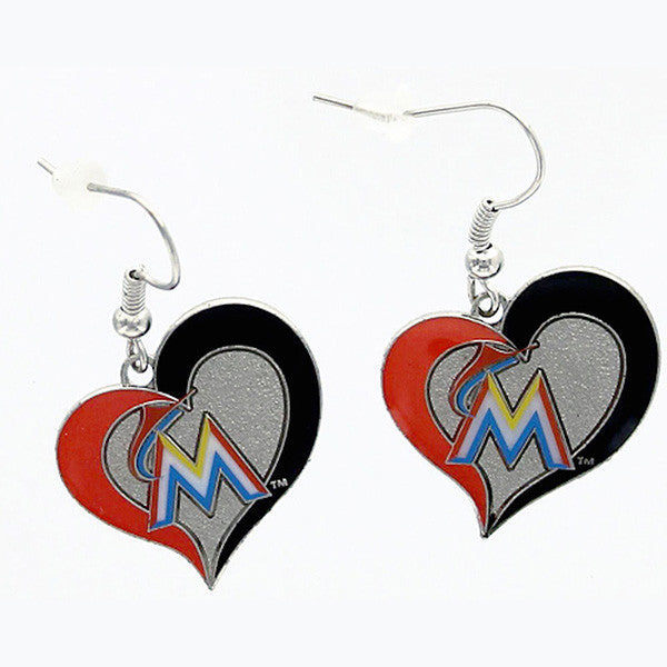 Miami Marlins Swirl Heart Dangle Earrings