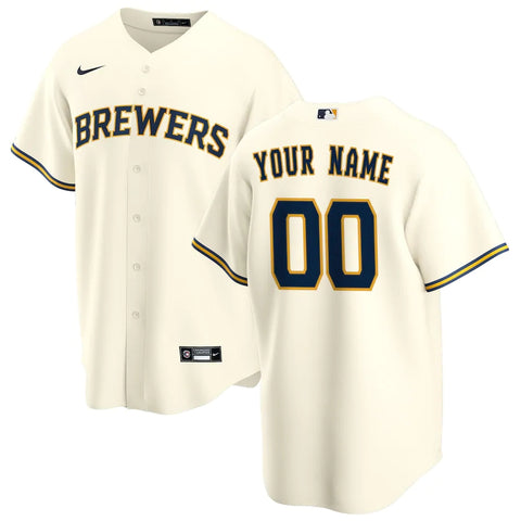 Milwaukee Brewers Jersey - Custom Name and Number - Cream
