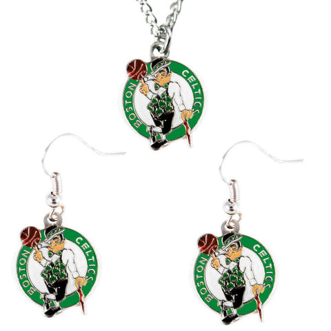 Boston Celtics Necklace - Logo Charm Necklace & Earrings Set