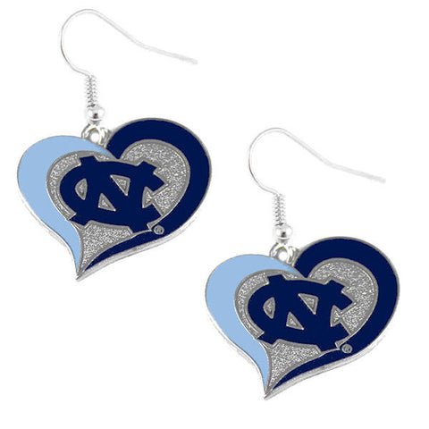 UNC Tar Heels Swirl Heart Dangle Earrings
