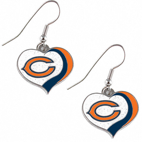 Chicago Bears Earrings - Glitter Swirl Heart Dangle Earrings