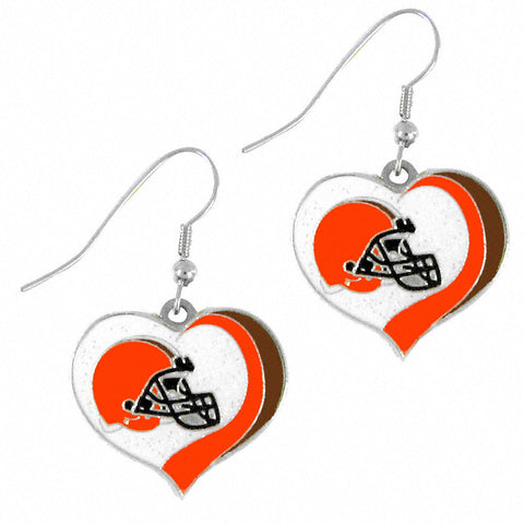Cleveland Browns Glitter Swirl Heart Dangle Earrings