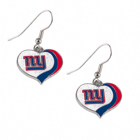New York Giants Earrings - Glitter Swirl Heart Dangle Earrings
