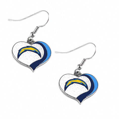 Los Angeles Chargers Glitter Swirl Heart Dangle Earrings