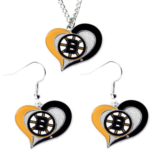Boston Bruins Necklace - Swirl Heart Necklace & Earrings Set
