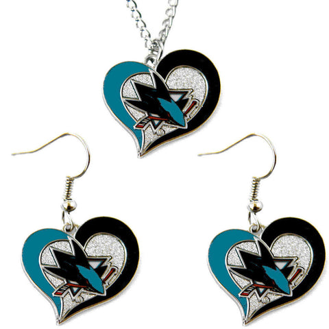 San Jose Sharks Swirl Heart Necklace & Earrings Set