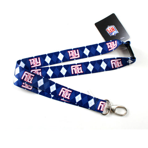 New York Giants Lanyard - Argyle Lanyard Clip Keychain Key Ring Badge Ticket Holder