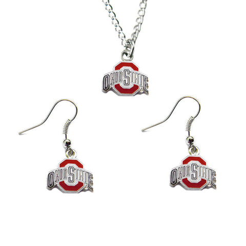 Ohio State Buckeyes Charm Necklace & Earrings Set