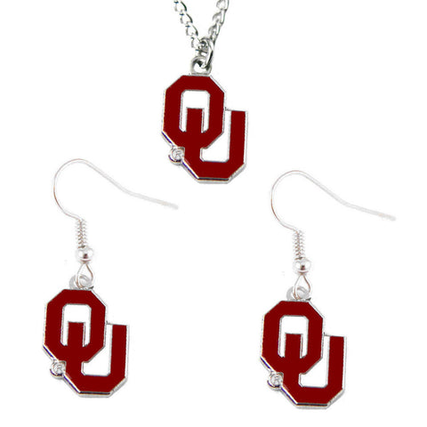 Oklahoma Sooners Charm Necklace & Earrings Set