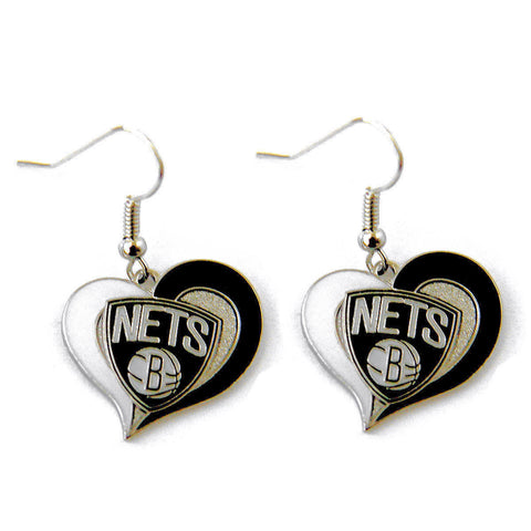 Brooklyn Nets Earrings - Swirl Heart Dangle Earrings