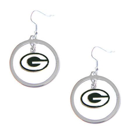 Green Bay Packers Earrings - Hoop Logo Dangle Earrings