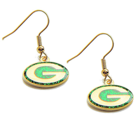 Green Bay Packers Earrings - Glitter Logo Dangle Earrings