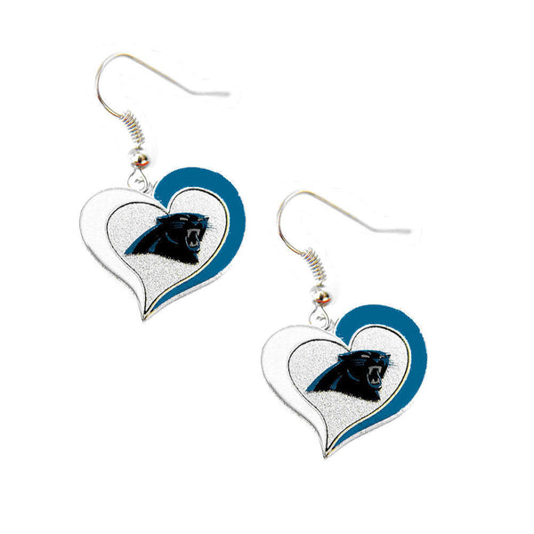 Carolina Panthers Earrings - Swirl Heart Dangle Earrings