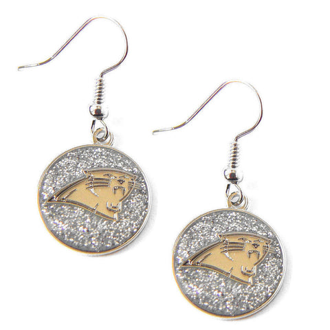 Carolina Panthers Earrings - Glitter Logo Dangle Earrings