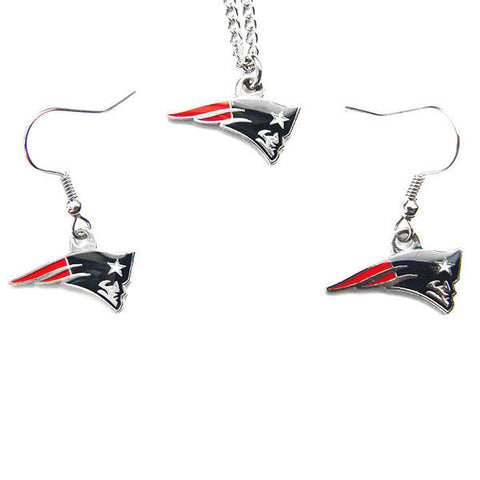 New England Patriots Necklace - Logo Charm Necklace & Earrings Set
