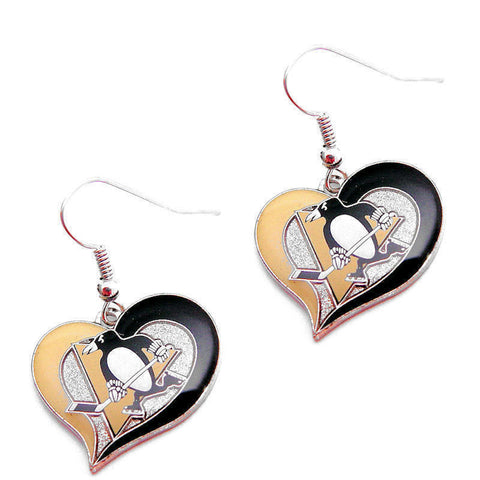 Pittsburgh Penguins Swirl Heart Dangle Earrings