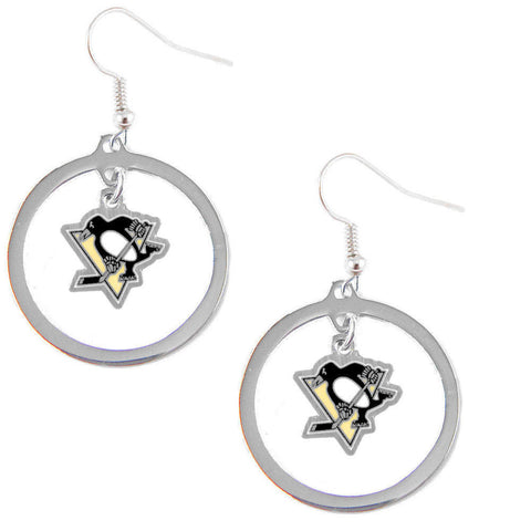 Pittsburgh Penguins Hoop Logo Dangle Earrings