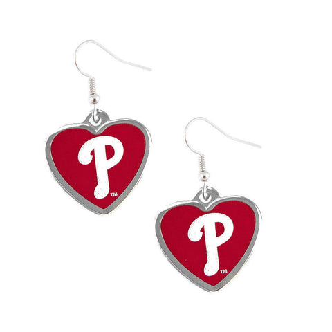 Philadelphia Phillies Logo Heart Dangle Earrings