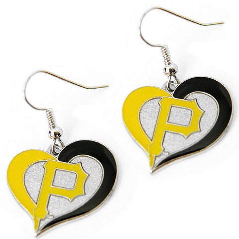 Pittsburgh Pirates Swirl Heart Dangle Earrings