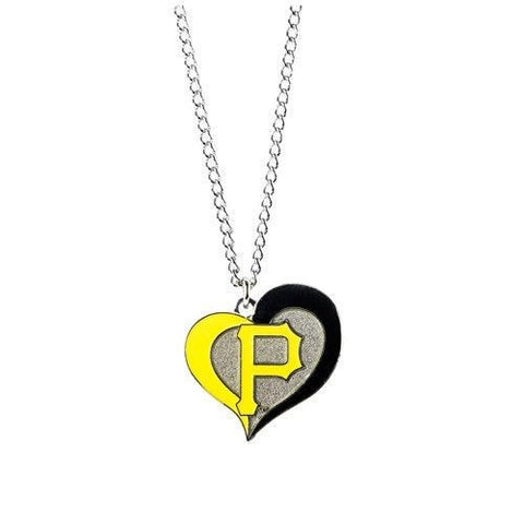Pittsburgh Pirates Swirl Heart Logo Necklace