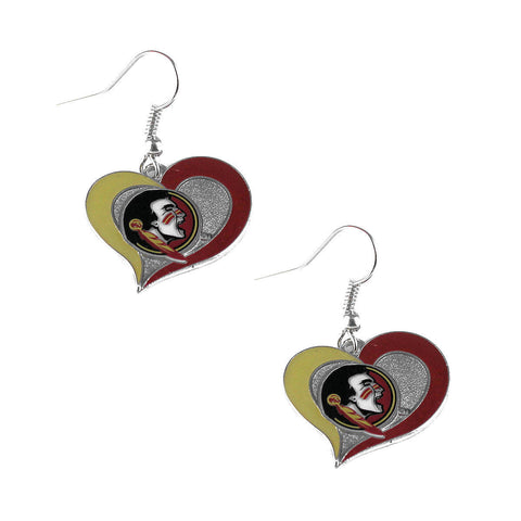 Florida State Seminoles Swirl Heart Dangle Earrings