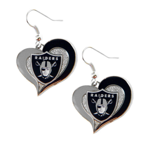 Oakland Raiders Earrings - Swirl Heart Dangle Earrings